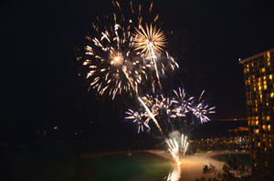 Fireworks every friday night at the Hilton Hawaiian Village