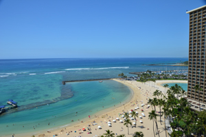 Beachfront view from the Ali'i Tower at Hilton Hawaiian Village