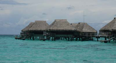 Over the water bungalows on Moorea, Tahiti